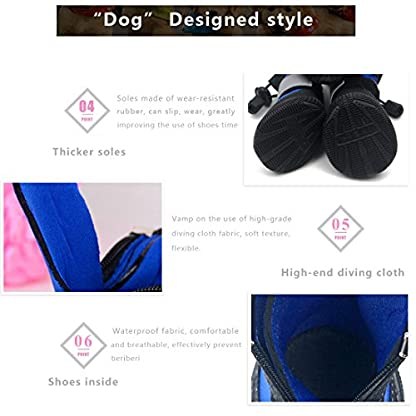 PetPi 4pcs x Paw Protector Blue Dog Shoes Waterproof + Anti-slip Rubber Sole with Reflective Velcro for Yorkshire… 8
