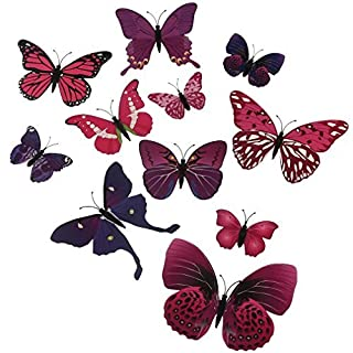 A-szcxtop 12 Pieces 3D Stereoscopic Butterfly Wall Stickers DIY Wall Decoration (Purple)
