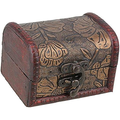 Patrón de flor de loto de sello vintage pequeña cerradura de metal joyería Cofre del Tesoro Caja de madera de hecho a mano