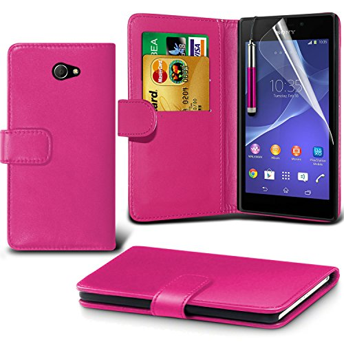 (Pink) Sony Experia M2 individuell bestückt Schutzmaßnahmen Kunst Credit / Debit-Karten-Leder-Buch-Art Wallet Case Hülle, Retractable Touch-Screen-Stift, Retractable Touch Screen Stylus Pen & LCD-Display Schutzfolie von Fone-Case (Stylus Retractable Touch Screen)