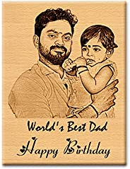 GFTBX Personalized Birthday Gift for Father - Customized Engraved Wooden Photo Frame Plaque with Text Engravin