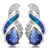 JINTOP Schmuck Ohrstecker, Australian Opal White Blue Sapphire Feuer Topas Ohrringe Geschenke