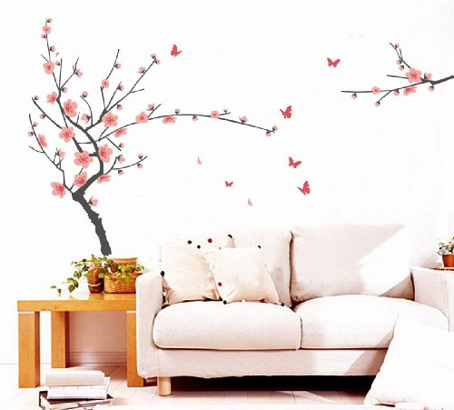 Sticker murale - SODIAL(R) Rosa Peach Blossom rami degli alberi farfalla Vinile smontabile Decor Wall Sticker