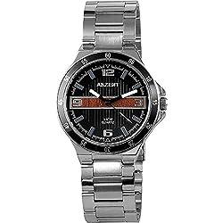 Akzent Herrenuhr Schwarz Braun Analog Metall Armbanduhr
