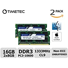 Timetec Hynix IC Apple 16GB Kit (2x8GB) DDR3 1333MHz PC3-10600 SODIMM Memory Upgrade For MacBook Pro 13/15/17 inch Early/Late 2011,iMac 21.5-inch Mid/Late 2010/2011,27-inch Mid 2010/2011,Mac mini 5,1 & 5,2 Mid 2011 (16GB Kit (2x8GB))