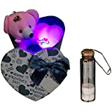 Atorakushon Bunch Of Fragnance Soap Roses In Love Shape I Love You Msglove Shape With Best Filling Pearls Designs Little 1 Pc Message Bottles Gift Box Along With Taddy In A Iron Box Along Best Valentine's Gift For Girlfriend With Best Gift For Loves Ones,