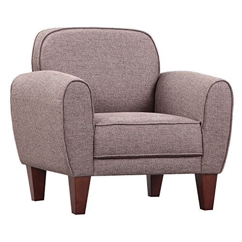 HOMCOM Single Armchair Tub Chair Linen Sofa Wooden Sponge Seat Bedroom Living Room Furniture (Khaki)