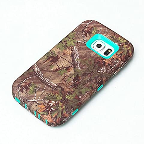 JNTworld Arbre Camouflage Forêt Herbe résistant aux rayures Hybride Bord Silicone Protection Durable Hard Case pour Samsung Galaxy S6 edge Coque (2-Layer),