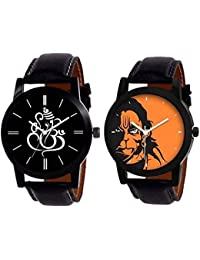 Shocknshop Stylish Black Leather Strap Lord Hanuman & Lord Ganesh Premium Quality Watch For Men & Women Boys &...