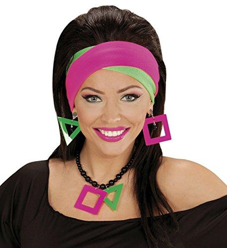 Neon Halskette und Ohrringe 80er Jahre Schmuck Set Ohrclips Halsschmuck Hals Kette Ohr Ring Modeschmuck Ohren Clips Kostüm Kleidung Verkleidung (Und Schmuck Accessoires Jahre 80er)