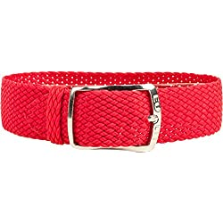 Kristall Replacement Band Perlon Strap Textile Strap red, braided, waterproof 25628S, width:10mm