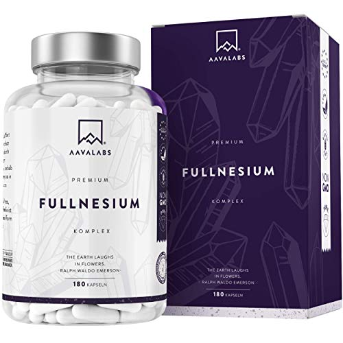 FULLNESIUM® Komplex [ 1561 mg ] - Magnesium Chelat Hochdosiert Supplement - 180 Kapseln - 5 Arten Magnesium: Citrat, Bisglycinat, Malat, Oxid & Taurat - 400mg elementares Magnesium pro Tagesdosis