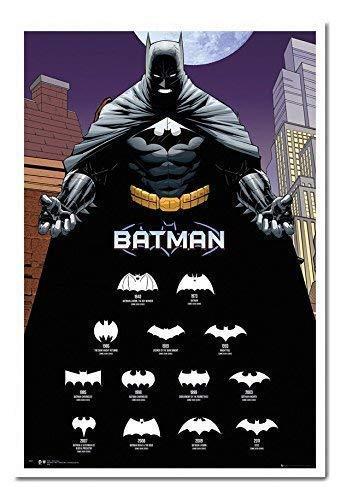 Batman Logos mit Jahren Poster Kork Pinnwand Memoboard weiß gerahmt, 96,5x 66cm (ca. 96,5x 66cm)