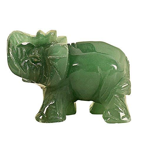 Merssavo 2 Zoll Hand geschnitzte Aventurin Jade Stein Craving Glücklichen Elefanten Feng Shui Statue (Jade-statue Groß)