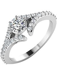 IskiUski White Gold And American Diamond Ring For Women - B075VHCTHS