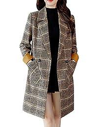 01b40b268353 FIRSS Damen Kariertes Mantel Lange Trenchcoat Schlank Winterjacke Revers  Steppmantel Slim Fit Mode Taschen Casual Langarm…