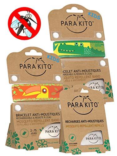Imagen de parakito  modelo para niño  proteccion natural antimosquito  kit 2 x para'kito pulsera repelente de mosquitos orange et verde + 1 x recarga para'kito para pulsera