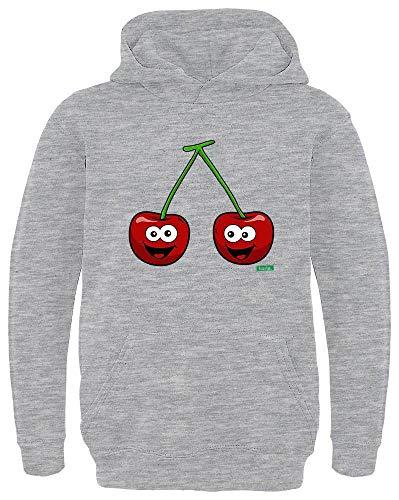 HARIZ Kinder Hoodie Kirschen Lachend Früchte Sommer Plus Geschenkkarten Hell Grau 104/3-4 Jahre -