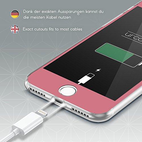 Urcover® Apple iPhone 7 Plus / 8 Plus Hülle | 360 Grad Case Schutz-hülle in Transparent | ohne Punktmatrix | Handy-Cover Rundum ultra slim Case dünn Schale | Smartphone Zuberhör Tasche Rosa