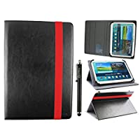 Emartbuy Universal 10-11 Inch Black Multi Angle Folio Wallet Case Cover With Card Slots Red Elastic Strap and Stylus Pen Suitable for Selected Devices Listed Below