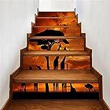 Limiz Treppen Selbstklebende Tapete Bunten afrikanischen Sonnenuntergang Tier Heimtextilien 3D Abnehmbare DIY Schritte Aufkleber Moderne HD Wasserdichte Treppe Tapeten kaufen Drei Bekommen Eins Frei