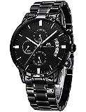 Herren Uhren Männer Militär Wasserdicht Sport Chronograph Schwarz Edelstahl Armbanduhr Design Business Datum Kalender Modisch Analog Quarzuhr
