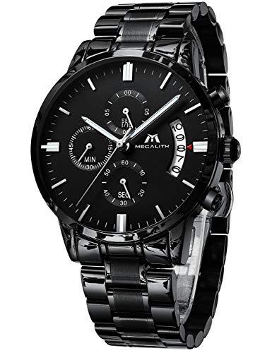Herren Uhren Männer Militär Wasserdicht Sport Chronograph Schwarz Edelstahl Armbanduhr Design Business Datum Kalender Modisch Analog Quarzuhr -