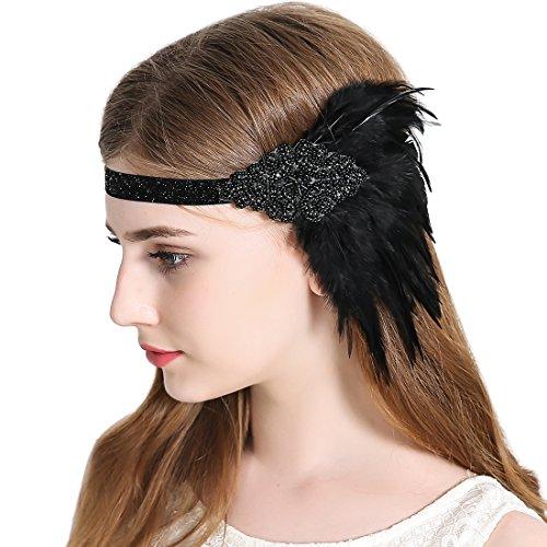 JaosWish 1920s Elastische Flapper Stirnband Vintage Art Deco Gatsby Plume Feder Kopfstück (Kostüme Mode Erwachsene Flapper)