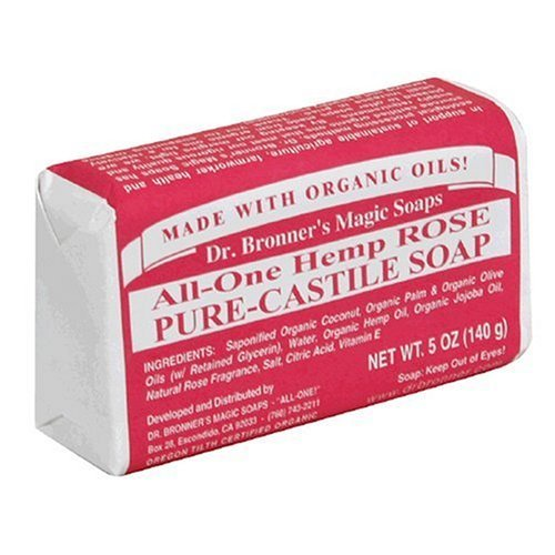 Rose Castile Soap Bar (Dr. Bronner's Magic Soaps Pure-Castile Soap, All-One Hemp Rose, 5-Ounce Bars (Pack of 6) by Dr. Bronner's)