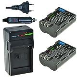 Chili Power EN-EL3e Kit: 2X batteria + caricabatteria da auto per NIKON D90, D700, D300, D80, D70, D50, D300, D300S, D70s, D100