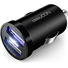 deleyCON DUAL KFZ USB Ladegerät USB Ladeadapter – 2x USB Port – 2,4A / 12W – Überspannungsschutz / Überladungsschutz – 12V KFZ Auto-Ladegerät