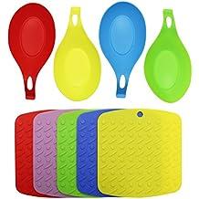 KurtzyTM 4 Poggiamestoli in Silicone e 5 Tappetini Sottopentola – Senza BPA, Colorati, Resistenti al calore