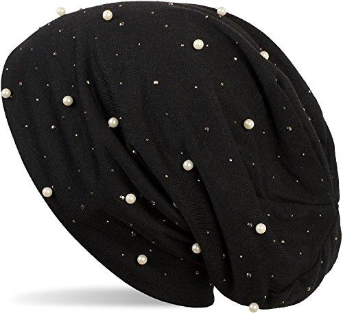 styleBREAKER Beanie Mütze mit Perlen und Strass Nieten, Slouch Longbeanie, Damen 04024140, Farbe:Schwarz