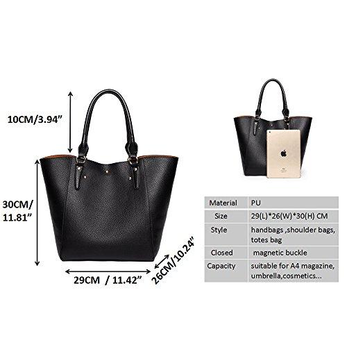 Tibes Fashion Waterproof Shoulder Bag Synthetic Leather Handbag Black 1