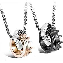 MENDINO - Collar con colgante doble de acero inoxidable con incrustaciones con talla de círculo de zirconita cúbica y diseño de corona, para hombre y para mujer