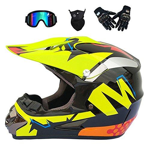 JINWEI Adulto Motocross Casco/Gafas/Máscara/Guantes Moto Casco,L