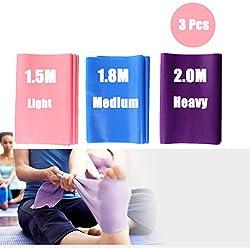 DoGeek-3x Bandas de resistencia para pilates yoga, ballet, gimnasia y rehabilitación. (rosa , morado,azul)