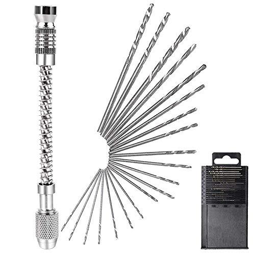 UCTOP STORE HSS Micro Mini Handbohrer mit Bohrfutter und 20 Stück 0,3-1,6 mm gerader Schaft Spiralbohrer Set für Kunststoff Metall Holz Bohr-Sets