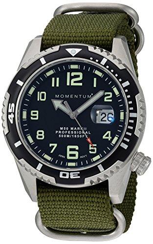 "Momentum ""Männern M50MARK II-Quarz Edelstahl und Nylon Taucheruhr, Farbe: grün (Modell: 1m-dv52b7g)"
