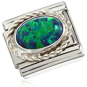 Nomination Damen Composable CLASSIC Edelsteine, Kordel-Fassung Silber 925 Edelstahl Opal grün – 030509/26