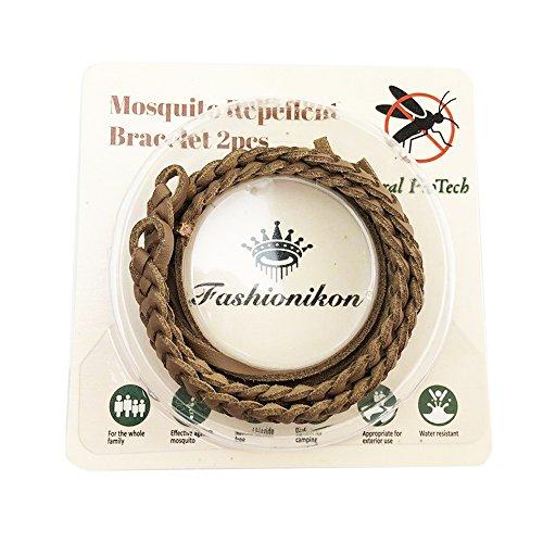 Imagen de fashionikon  pulsera repelente de mosquitos de cuero marrón claro con protección contra insectos, para adultos y niños