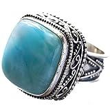 stargems natur Larimar 925Sterling Silber (Einzigartiges Design Vintage Stil) Ring US Größe 7,5