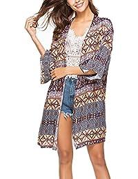 d688b37adccd Camicetta Donna Eleganti Estivo Lunghi Stampati Spiaggia Bohemian Cardigan  Manica Lunga Sciolto Etno-Style Kimono