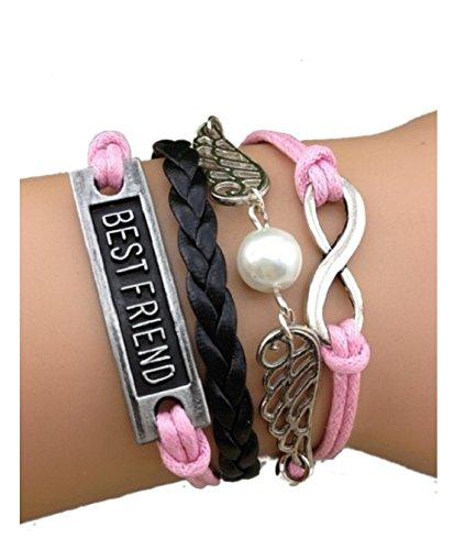 Imagen de strass & paillettes pulsera de color rosa best friend alas de ángel y eslabones infinitos de plata. perla de amor. regalo de mejor amigo alternativa