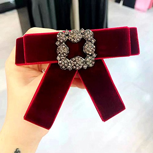 Demarkt Mode Schleife Brosche Schleifenbrosche Anstecknadel Pin seidenband Satin Samt Stoff für Damen Kleidung, Anzug Accessoire (Weinrot)