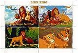 Le film feuille de timbres Roi Lion de Disney pour les collectionneurs avec 4 timbres / 2014 / Tchad / 1000F