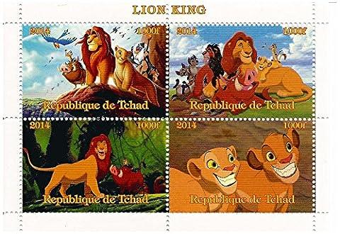 Der König der Löwen Disney-Film Briefmarkenbogen für Sammler mit 4 Briefmarken / 2014 / Tschad / 1000F