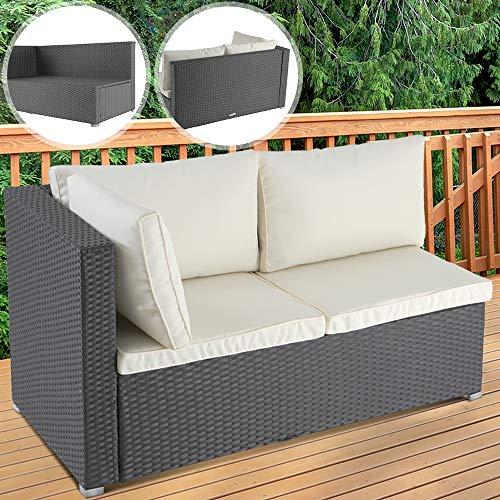 Polyrattan Ecksofa, Armlehne rechts | 130x70x63 cm, mit Sitzkissen, für zwei Personen in Grau | Gartensofa, Gartenmöbel, Lounge Sofa für Terrasse, Balkon oder Garten