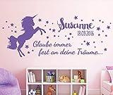 tjapalo® 58x23cm pkm206 Wandtattoo Kinderzimmer Baby Geburt Wandtattoo Mädchen Pferd Sterne glaub immer an deine Träume Datum Name Wunschname