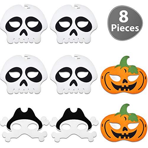 Gejoy 8 Stücke Halloween Maske Piraten Skelett Kürbis Filz Maske für Kinder Halloween Maskerade Party Kostüm